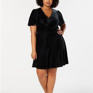 Soprano Womens Plus Size Velvet Fit & Flare Dress